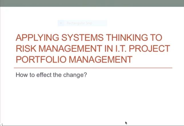 What is Wrong with IT Portfolio Risk Management - How to effect the change (Part 3)